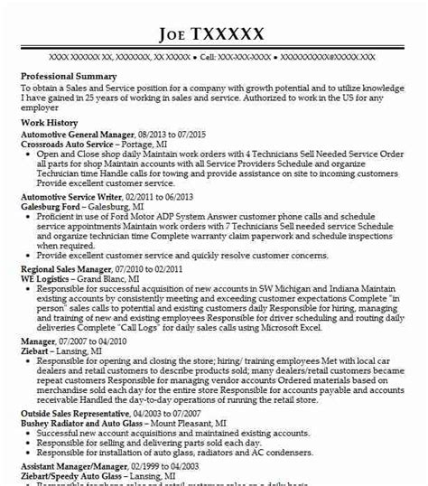 General Manager Resume Sles by Automotive General Manager Objectives Resume Objective