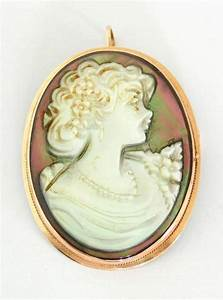 9ct Yellow Gold Oval Carved Mother of Pearl Cameo Pendant/Br