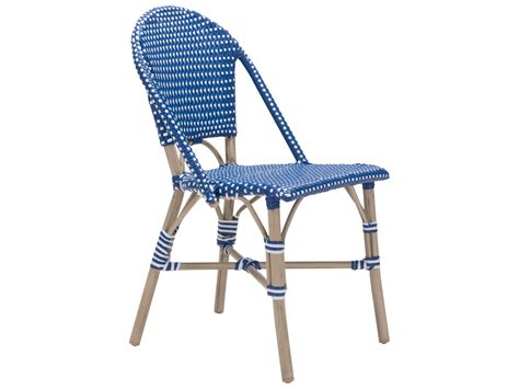 zuo outdoor aluminum wicker dining chair in navy