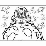 Alien Asteroid Landing Coloring Space Printable sketch template