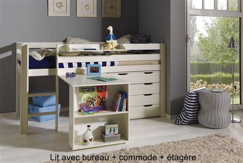 lit bureau combiné lit enfant combiné bureau et rangement theo en pin massif