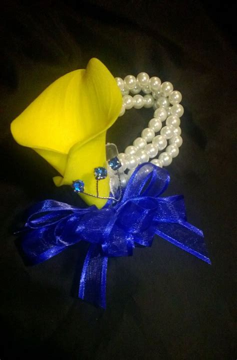 blue flower touch l real touch yellow royal blue calla lily wrist corsage