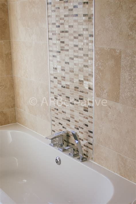 bathroom tile feature ideas travertine wall tiles with mosaic feature