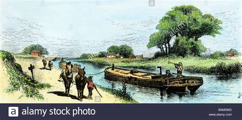Tow Boat History by Grain Boat Towed By A Mule Team On The Erie Canal 1800s