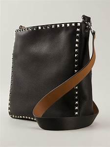 valentino reversible studded shoulder bag in black lyst