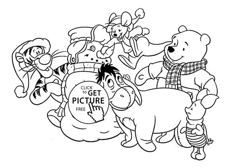 Christmas Winnie And Friends Coloring Pages For Kids