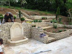 Terrasse Avec Muret : construction de murets construction terrasse am nagement ~ Premium-room.com Idées de Décoration