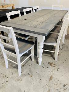 7ft, Rustic, Farmhouse, Table, With, Turned, Legs, Chair, Set, Classic, Gray, Top, And, Antique, White, Base