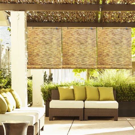 hanging l shades exterior brown patio roller shade hanging on wooden deck
