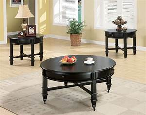 Black coffee table sets for unique your living spaces look for Black round coffee table set