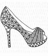 Coloring Shoes Adult Heels Heel Shoe Printable Pumps Colouring Adults Stiletto Stilettos Fancy Books Loafers Embroidery Paper Recolor Printables App sketch template