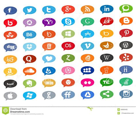 social media icons in chat editorial image image