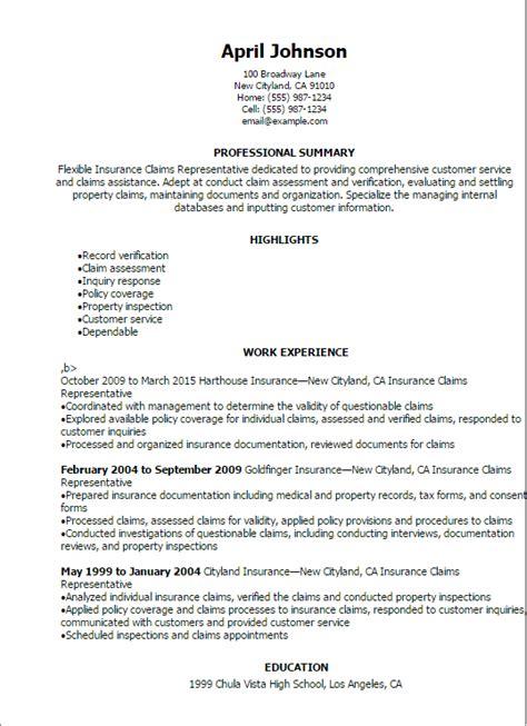 Professional Insurance Claims Representative Resume