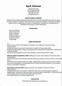 professional insurance claims representative resume With insurance claims resume