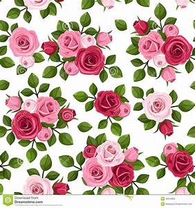Seamless Pattern With Red And Pink Roses On White. Stock ...