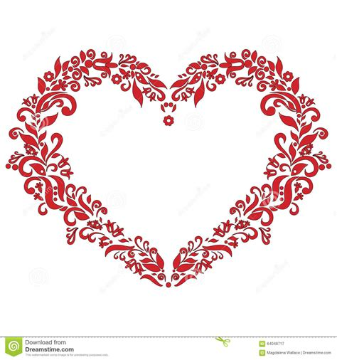 embroidery inspired love heart shape pattern  red