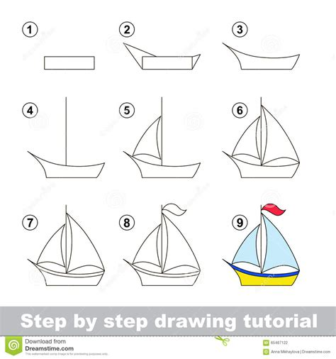 Boat Craft Drawing by Drawing Tutorial How To Draw A Boat Stock Vector