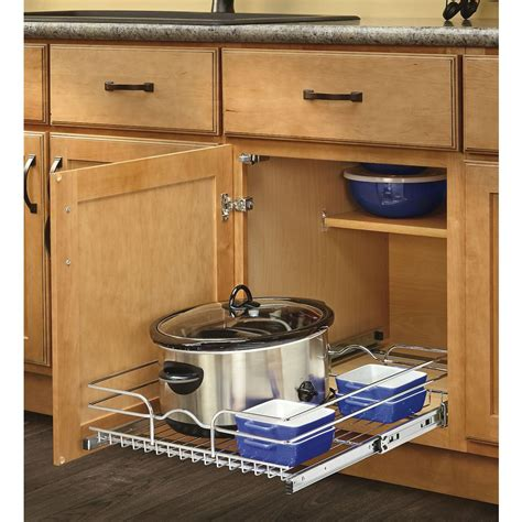 pull out inserts for kitchen cabinets shop rev a shelf 17 5 in w x 7 in h metal 1 tier pull out