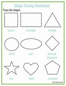 Shapes Worksheets for Preschool [Free Printables] – Mary ...  Tracing
