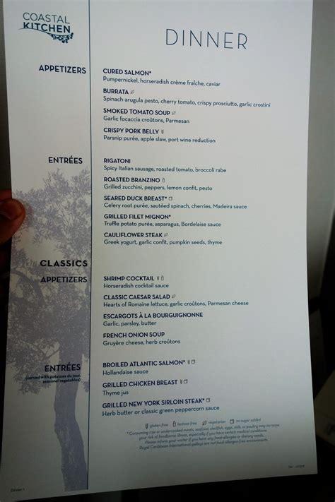 coastal kitchen menu new dining room menus on oasis of the seas 2280