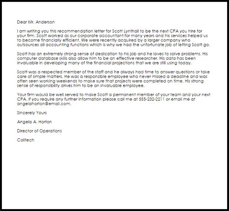 cpa recommendation letter  letter samples templates