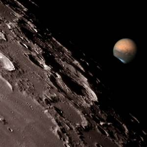 Mars at the Moon s Edge