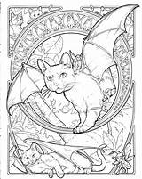 Coloring Fantasy Pages Animal Cat Colouring Halloween Sheets Adult Fairy Books Bat Adults Drawings Printable Cats Nyan Brilliant Abstract Ak0 sketch template