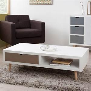Ikea Table Basse Blanche : table basse avec 2 tiroirs en mdf blanc et pin enzi ~ Teatrodelosmanantiales.com Idées de Décoration