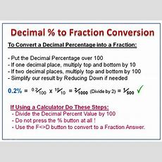 Converting Percentages To Fractions  Passy's World Of Mathematics