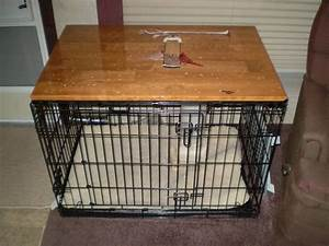 Table top on dog crate furry friends pinterest for Dog kennel table top