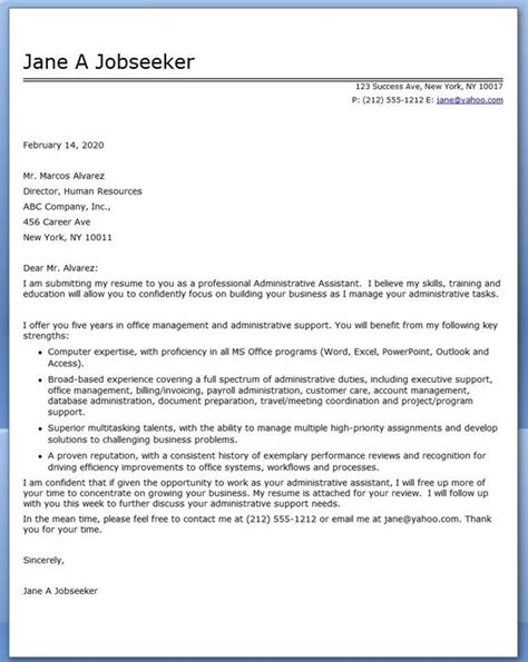 administrative assistant cover letter sample creative