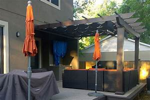 attached trex pergola with airflow mesh shadetree canopies With outdoor lighting tree canopy