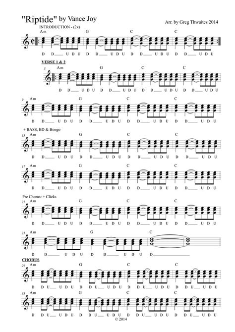 Class is geared toward anyone who is new to the ukulele or is well practiced and just wants more strumming techniques and patterns. Riptide by Vance Joy. Ukulele strumming chart by @THW88Z 'Greg' - 1 of 2 | Uke songs, Ukulele ...