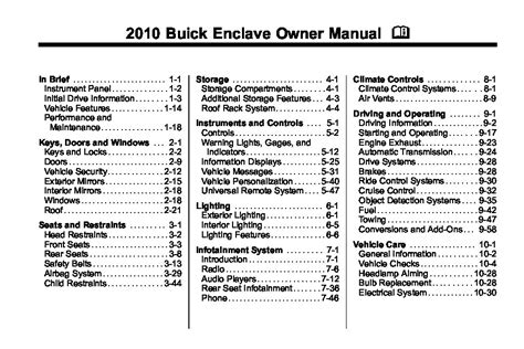 Buick Owners Manual by 2010 Buick Enclave Owners Manual Just Give Me The Damn