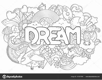 Text Dream Background Abstract Coloring Template Clothes