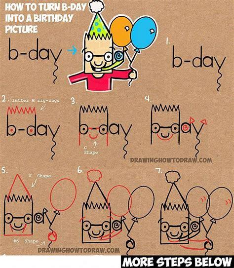 draw cartoon birthday party boy holding balloons