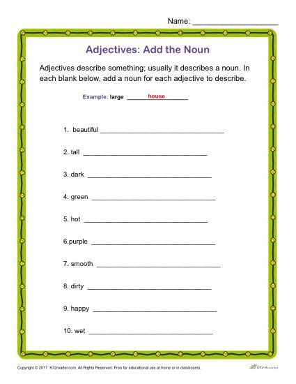 Add The Noun  Printable Adjectives Classroom Activity