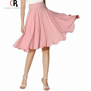 Midi Skirt 2016 Summer Women Clothing High Waist Pleated A Line Skater Vintage Casual Knee ...