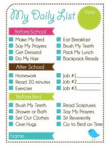Printable Daily Chore Chart Kids