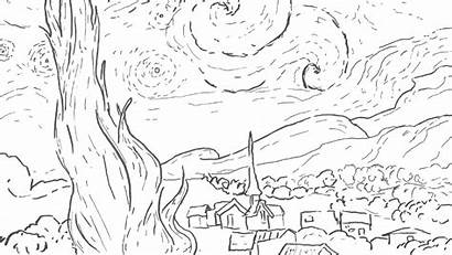 Coloring Pages Night Starry Van Gogh