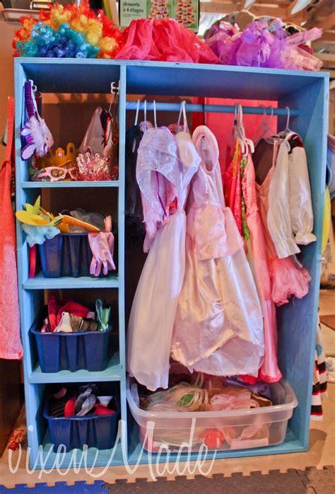 entertainment center into dress up closet