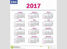 English calendar 2017 stock vector Image of number