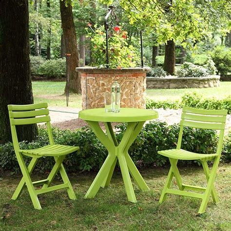 set balcon table ronde  chaises pliantes vert anis