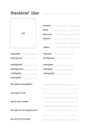 kostenlose steckbrief vorlage im word format zum