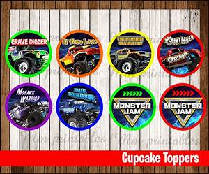 80% OFF SALE Monster Jam party Cupcakes Toppers instant