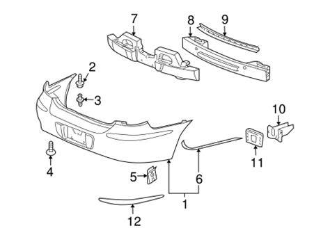 Buick Oem Parts by Oem Bumper Components Rear For 2005 Buick Lacrosse