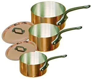 mauviel cuprinox  piece copper pan set amazoncouk kitchen home