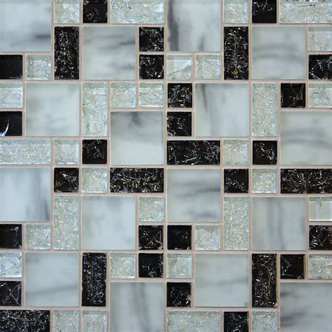 sample white marble crackle glass mosaic tile kitchen