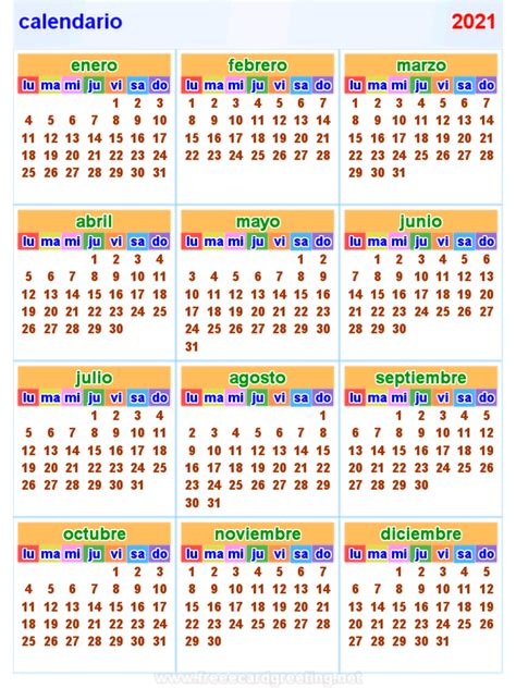calendario  horizontal  vertical