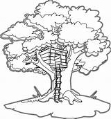Coloring Tree Pages Magic Village sketch template